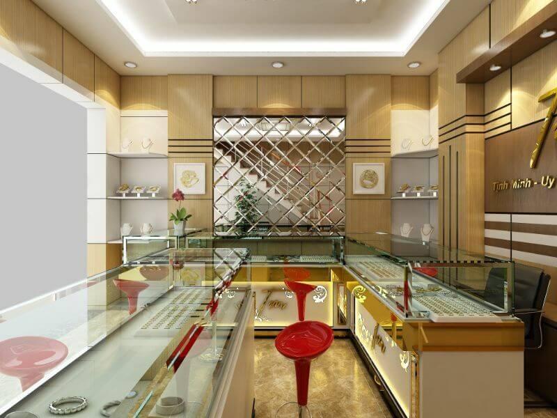 thiết kế nội thất cửa hàng vàng